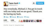 Taylor Swift let her fans know that all was cool between herself and Michael J Fox after he dissed her in an interview a few days ago.