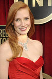 Jessica Chastain wore a red gown to the 2013 SAG Awards.