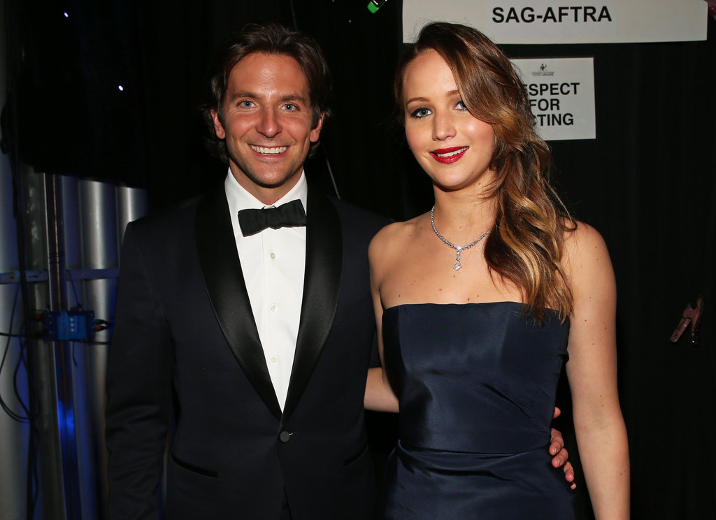 Bradley Cooper and Jennifer Lawrence posed together backstage.