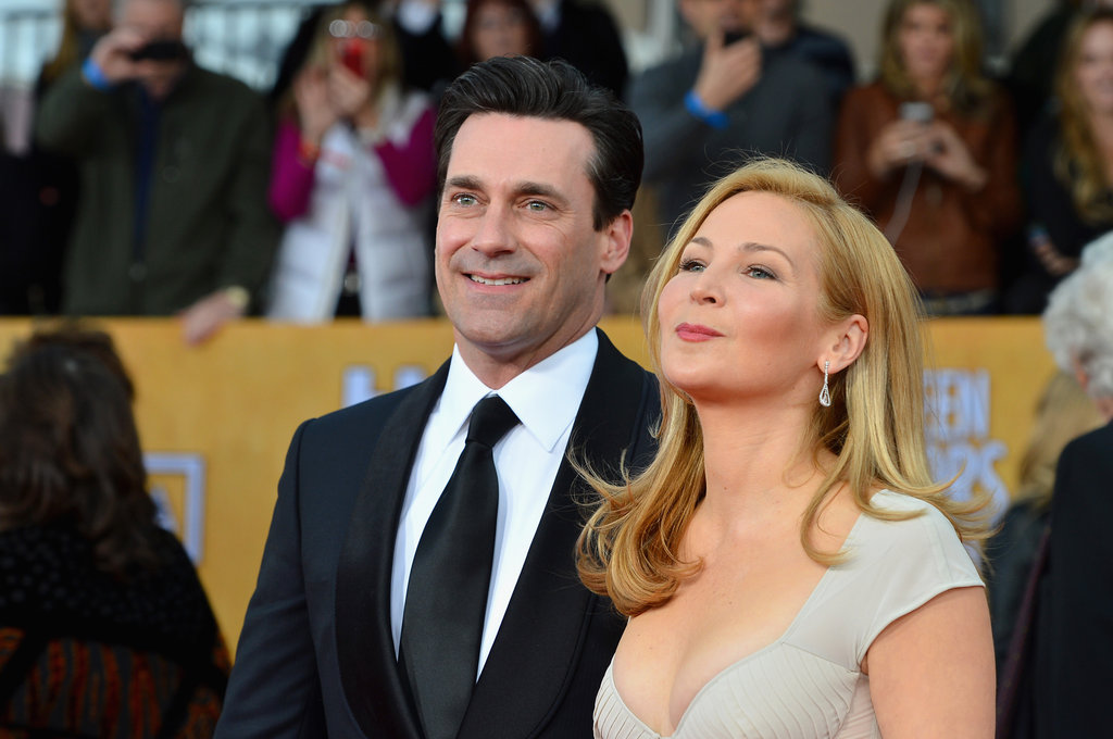 Jon Hamm and Jennifer Westfeldt arrived hand in hand Sunday at the SAG Awards.