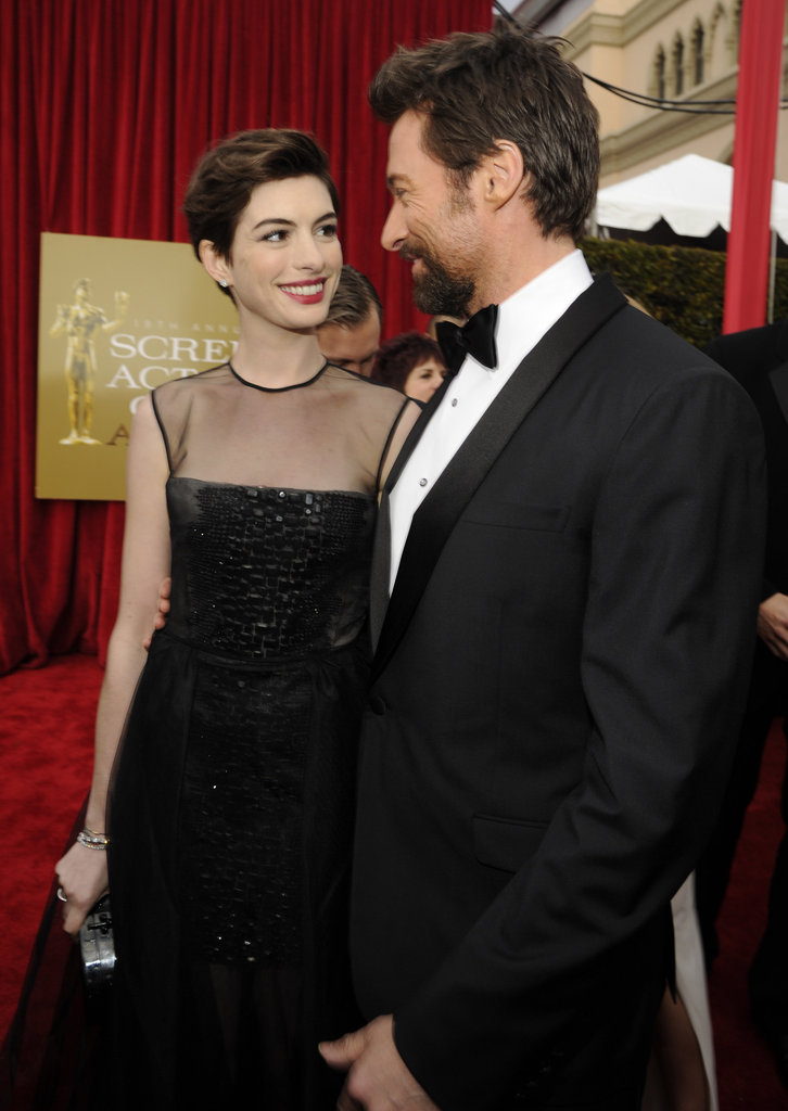 Anne Hathaway and Hugh Jackman Giggle at the SAG Awards