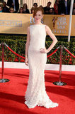 Jayma Mays wore a white dress on the red carpet.