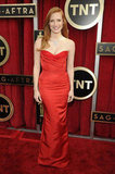 Jessica Chastain wore an Alexander McQueen gown and Harry Winston jewels.