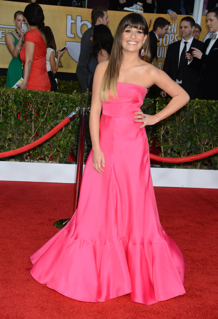 "One of our favorite ""gleeks"" Lea Michele brightened up the red carpet in a strapless hot-pink Valentino gown and Jennifer Meyer jewels."