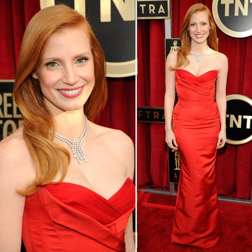 Jessica Chastain: SAG Awards Red Carpet Dresses 2013