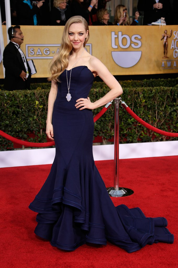 We're not going to say we've never seen Amanda Seyfried look more stunning, but we've never seen Amanda Seyfried look more stunning. This navy Zac Posen confection fit her like a glove and her diamond pendant necklace and studs, by Lorraine Schwartz, added the perfect amount of sparkle.