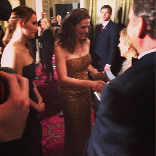 In a sweet moment backstage, Jennifer Lawrence introduced Jennifer Garner to her parents. Source: Instagram user sagawards