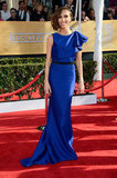 Giuliana Rancic stepped out in a cobalt blue ruffle-shouldered Max Azria Atelier that came complete with black belt detailing at the waistline.