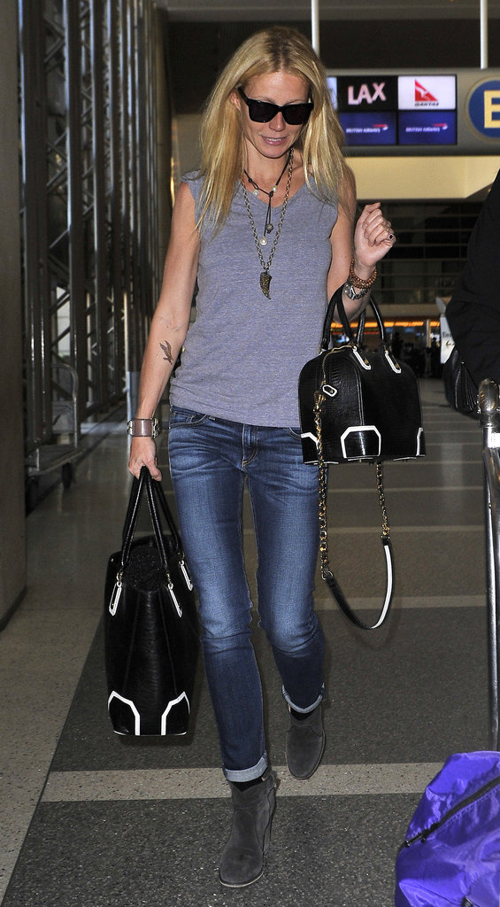 Gwyneth Paltrow arrived at LAX in a comfy, casual ensemble.