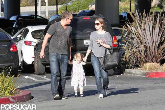 Amy Adams walked with Aviana and a male friend.
