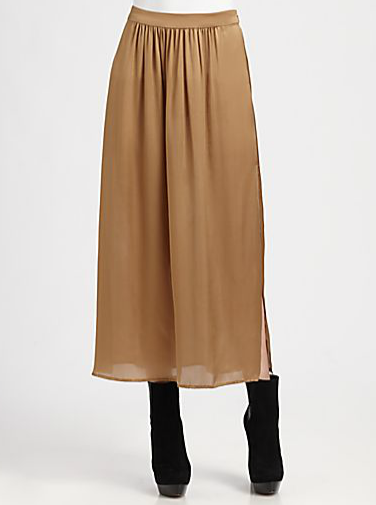 Work this Rachel Zoe silk camel midi skirt ($208, originally $395) into your 9-to-5 look. Style it with a gray turtleneck, black blazer, and black boots for your next meeting.