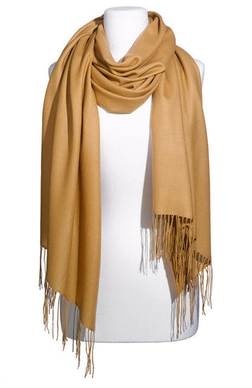 One of the quickest ways to get in on classic camel is to throw this Nordstrom cashmere and wool wrap ($88) on top of all your outfits.