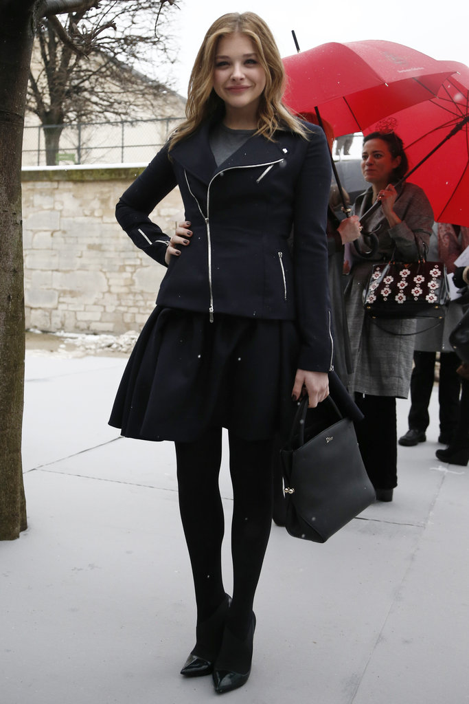 Chloë Moretz caught some snow respite and posed in head-to-toe black. We love the addition of her seriously pointy-toed shoes, which give the biker jacket on top a sleek twist.