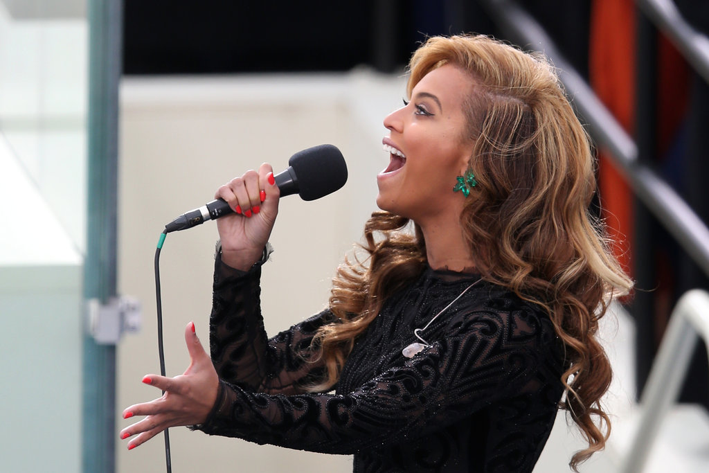 What a great shot of Beyoncé belting out the national anthem — and, of course, of her amazing 80-carat emerald Lorraine Schwartz earrings.