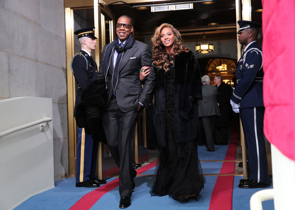 Beyoncé and Jay-Z were the picture of all-out glamour as they arrived for the inauguration swearing-in ceremony. As for Beyoncé — who wowed us all with her rendition of our national anthem — she wore an Emilio Pucci dress, Christian Dior coat, and Lorraine Schwartz emeralds.