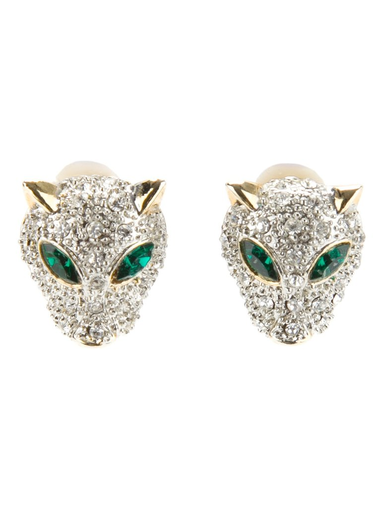 These Katheleys Vintage Panther Earrings ($229) are classic emerald with a touch of rock 'n' roll.