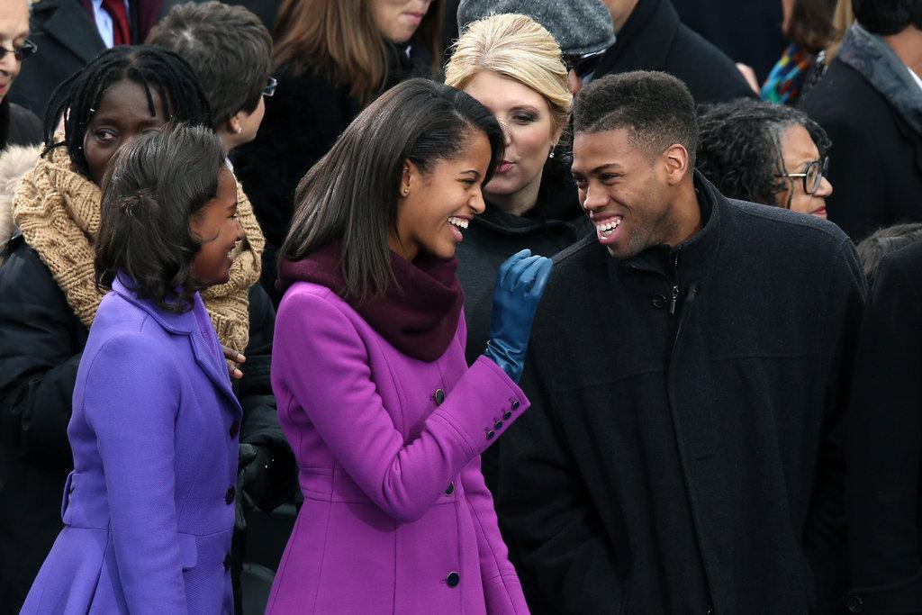 Sasha and Malia Obama enjoyed themselves at the inauguration.