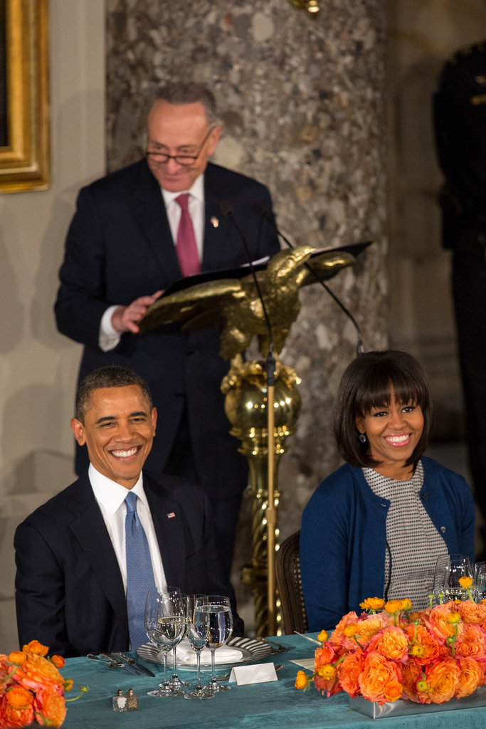 The first couple were all smiles at the inaugural luncheon.