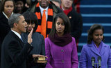 President Obama took part in his swearing-in ceremony with his family looking on.