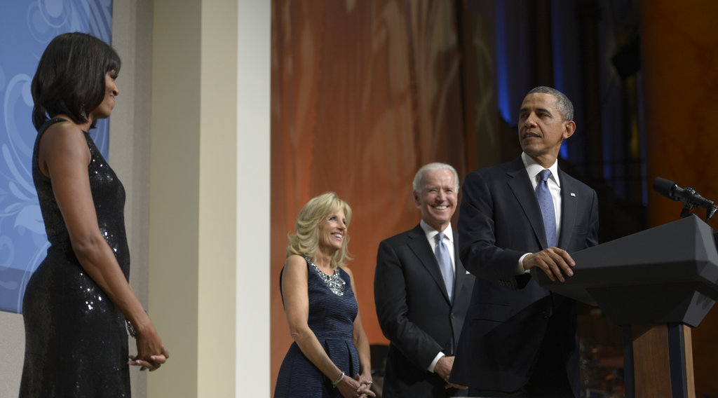 Barack and Michelle Obama were joined on stage with Jill and Joe Biden at the presidential inaugural reception at the National Building Museum.