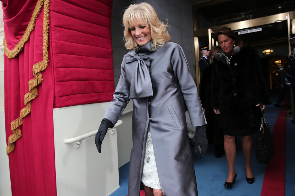 Dr. Jill Biden arrived at the inauguration with a smile on her face.