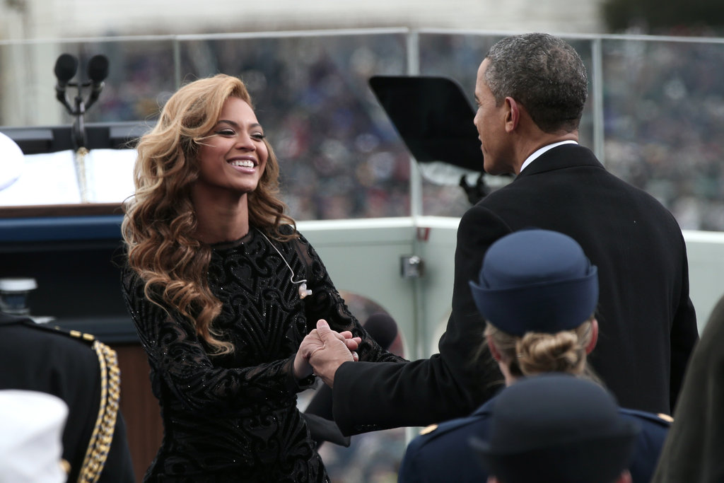 The president greeted Beyoncé, who sang the national anthem.
