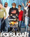 Jennifer Lopez pushed one of her twins during a day at Disneyland in December 2009.