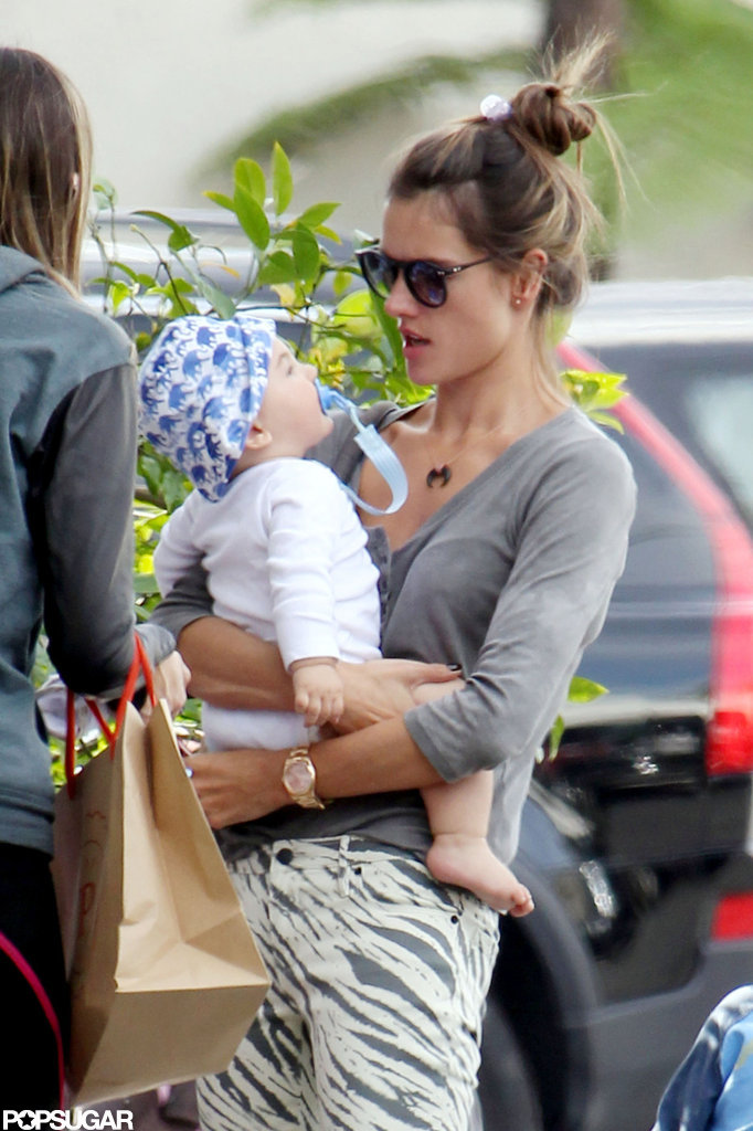 Alessandra Ambrosio held on to baby Noah Mazur in LA.