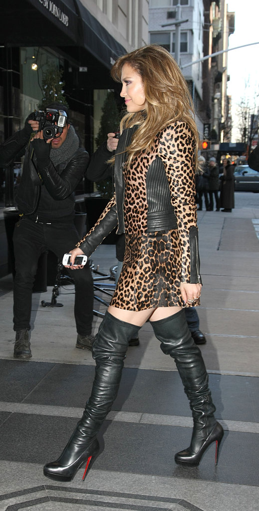 Jennifer Lopez donned thigh-high boots while promoting Parker.