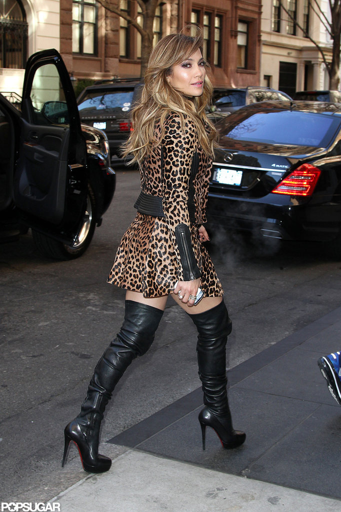 Jennifer Lopez wore a sexy leopard ensemble while promoting Parker in NYC.