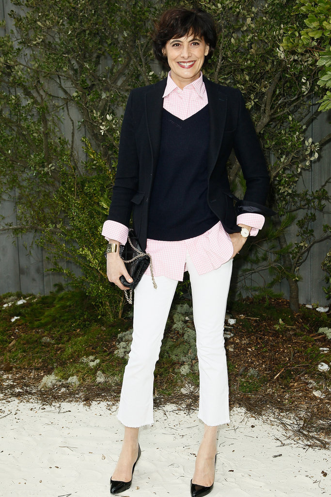 Inès de la Fressange turned out a polished, albeit low-key, look that channelled a minimalist version of preppy at Chanel.