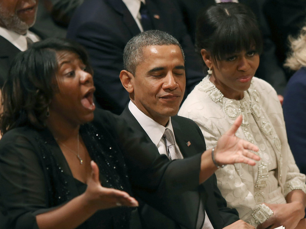Michelle and Barack listened to the children's choir.