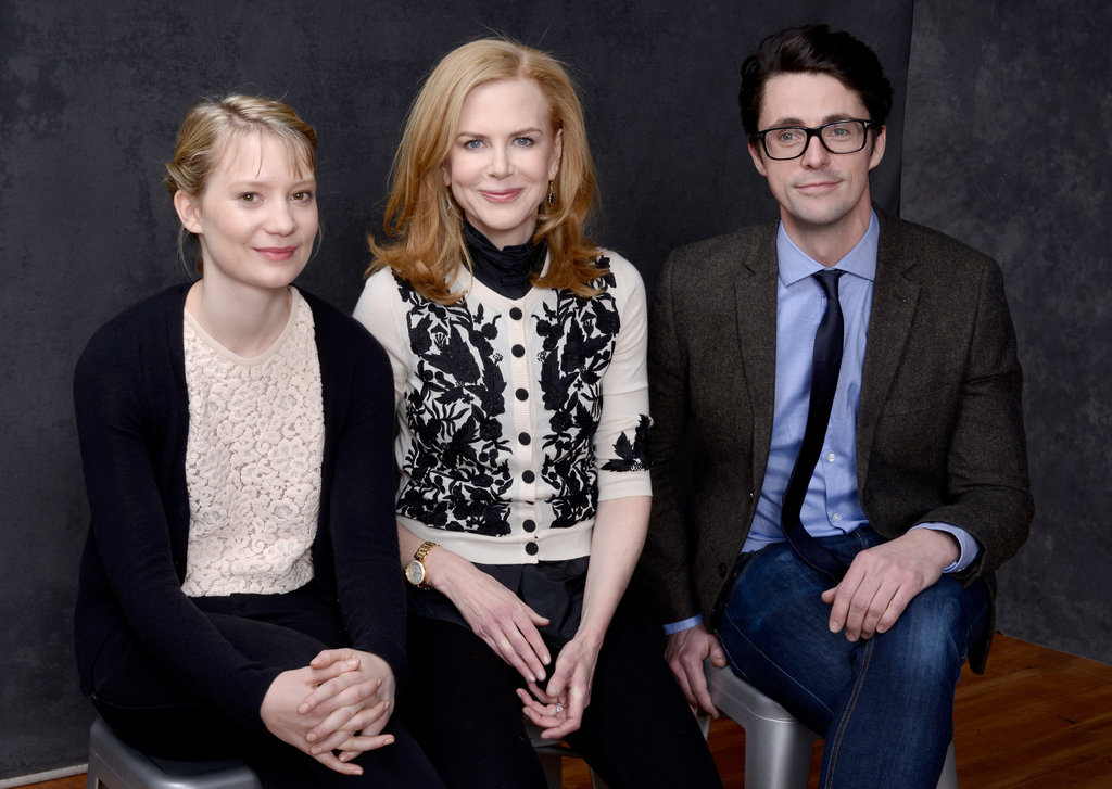 Stoker stars Mia Wasikowska, Nicole Kidman and Matthew Goode sat close to one another inside the portrait studio.