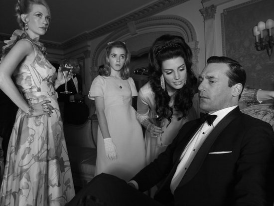 January Jones, Kiernan Shipka, Jessica Paré, and Jon Hamm on Mad Men.