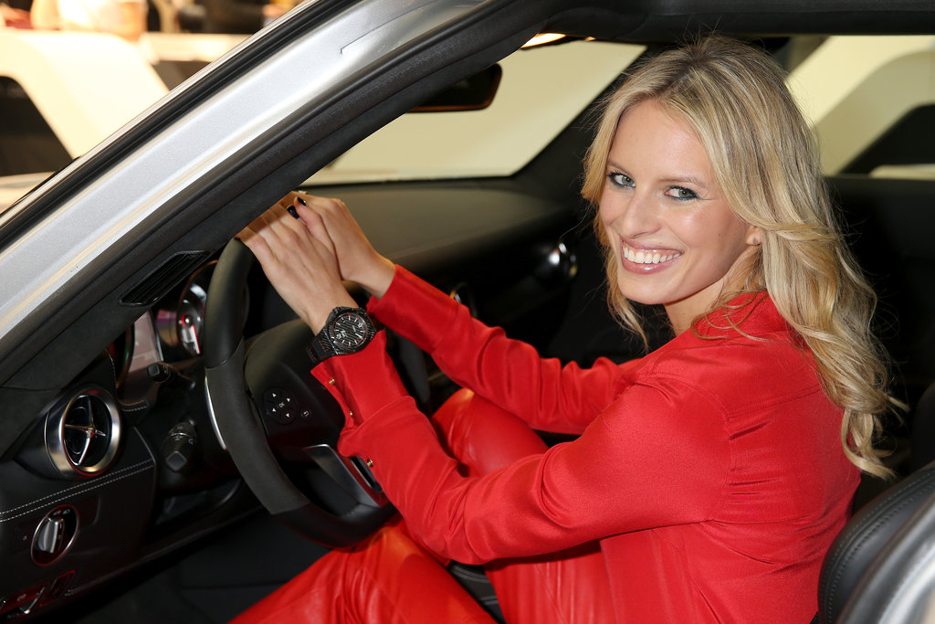 Karolina Kurkova hopped in a sports car.