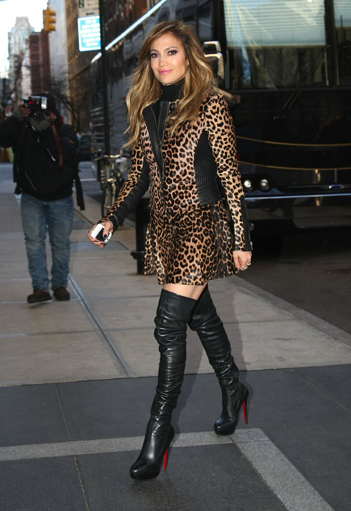 One of the most daring of her promotional looks, Jennifer paired an A.L.C. leopard jacket with a matching skirt, then finished boldly in Christian Louboutin over-the-knee boots. The takeaway here? Don't be afraid to mix two or more leopard pieces for an all-out wild look.