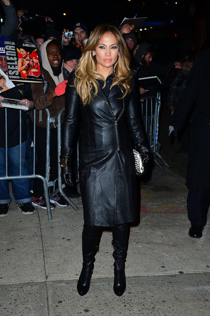 Here is a front view of Jennifer's all-black leather getup.