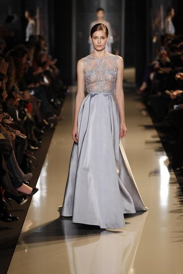The pale lavender hue is downright stunning, but the juxtaposition of the sexy sheer bodice and princess-worthy skirt deserves a strong woman to be rocking this kind of look. That's why we hope to see Jessica Chastain in this siren number. Source: Courtesy of Elie Saab