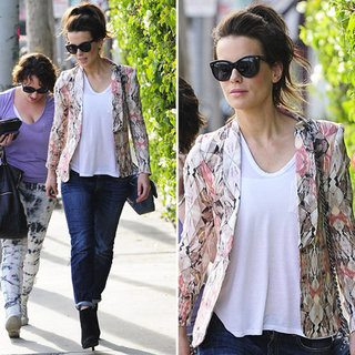 Kate Beckinsale Wearing Printed Blazer in LA