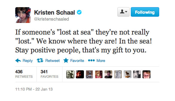 """Kristen offered optimism for those """"lost"""" at sea."""
