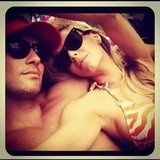 Jake Wall and Jennifer Hawkins snuggled up at the end of 2012. Source: Instagram user jenhawkins_