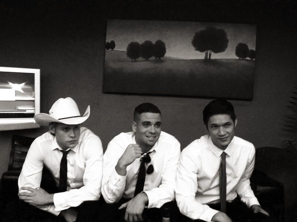 Chord Overstreet, Mark Salling, and Harry Shum Jr. were lookin' spiffy between scenes. Source: Twitter user msleamichele