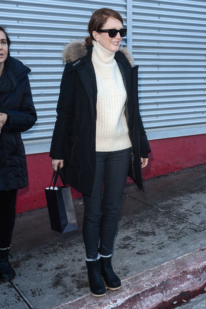Julianne Moore was spotted in an ivory turtleneck, fur-collared coat, and clog booties in Park City, UT.