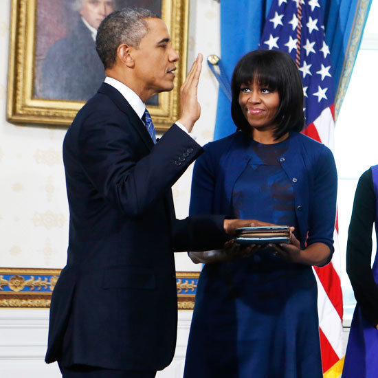 We couldn't get over how Michelle's newly cut bangs complemented her Reed Krakoff dress, which she wore when her husband was sworn in.