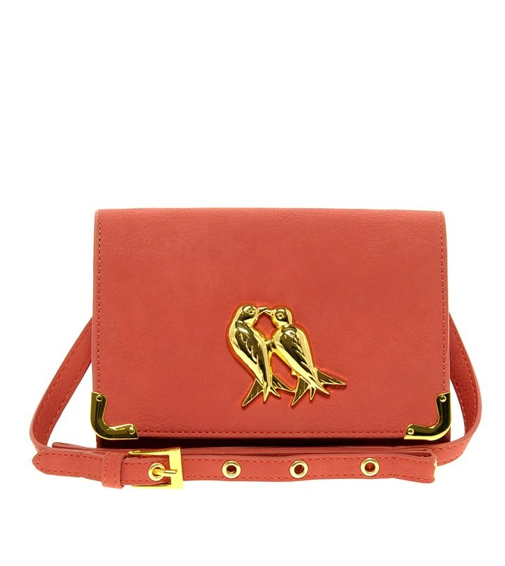 Kissing birds add a whimsical touch to this very budget-friendly rose-pink ASOS crossbody bag ($39).