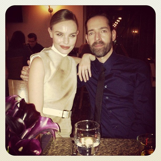 Kate Bosworth and fiancé Michael Polish got close at the Calvin Klein dinner. Source: Twitter user katebosworth