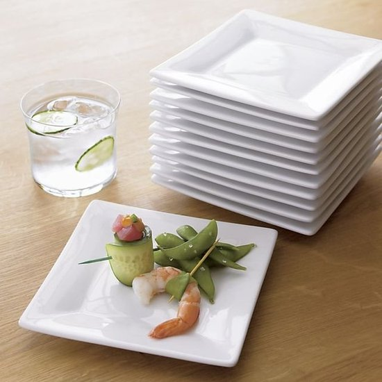 Skip the paper plates and serve small bites on these square appetizer plates ($23 for 12).