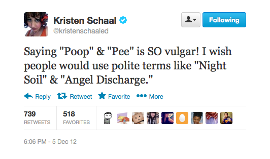 "Kristen has some interesting ideas for replacing the words ""poop"" and ""pee."""