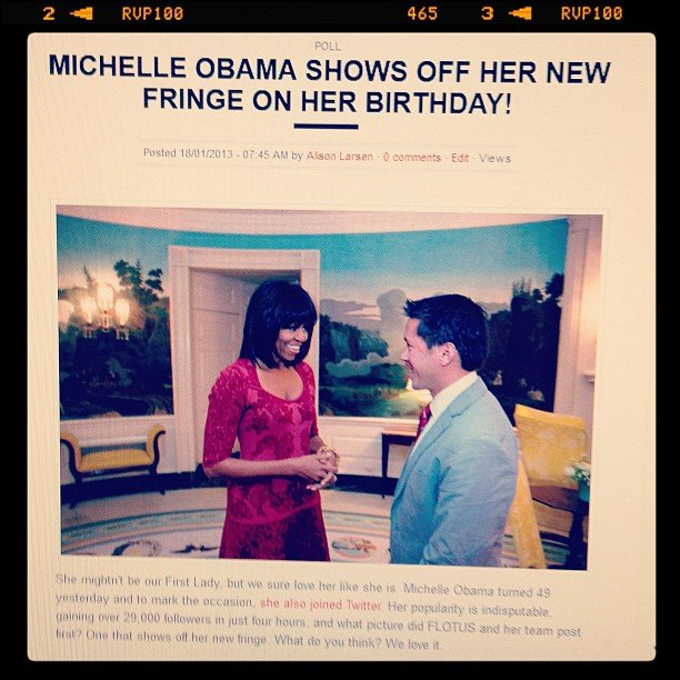 This is why she's the beauty editor. . . BellaSugar's Alison spotted Michelle Obama's new fringe within half a second of spying a tiny thumbnail image.