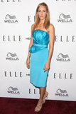 Kim Raver wore a strapless blue dress to the Elle event on Thursday.